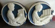 Antique Pair Of Terra Cotta Architectural Figural Plaques Probably From A School