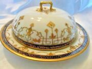 Nippon Hand Painted Butter-cheese Dish Domed Lid Greek Key Gold Trim
