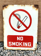 Vintage Enamel Sign Board No Smoking Old Cigarette Sign Red And White 1930s