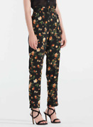 Nwt Fit Women High Waist Summer Casual Black Floral Ankle Pants Gift Size 8 Us