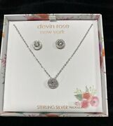 Devin Rose New York Sterling Silver925/cz Stud Earrings And Pendant Necklace-nib