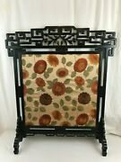 Lovely 19th Century Fire Screen With Brocade Fabric.