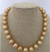 Gorgeous Huge 13-15mm Genuine South Sea Nearly Round Gold Pearl Necklace 18and039and039