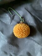 German Antique Glass Gold Bumpy Ball Victorian Christmas Ornament 1900and039s