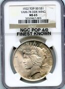 C9575- 1922 Vam-7b Ddr Wing Top 50 Peace Dollar Ms65 - Ngc Pop 4/0 Finest Known
