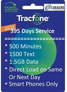 Tracfone Service Extension 1+ Year/395 Days + 500mins/1500txt/1.5gb Smartphones