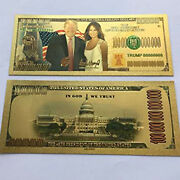 Gold Plated Donald And Melania Trump Commemorative Bank Note In Currency Holder