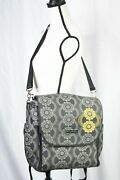 Petunia Pickle Bottom Gray Gold Embroidered Floral Boxy Backpack Diaper Bag