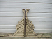 Ornate Pair Wood Corbels Colossal 19th Century Square Head Nails Crackly Paint