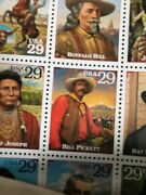 2 Full Stamp Sheets Legends Of The West. Both The Original Error And Correction