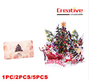 Us Christmas Santa Claus 3d Christmas Tree Greeting Cards Table Decor With Card