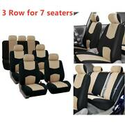 Beige Universal Car Seat Covers Set 3 Row For Auto Van Suv 7 Seaters Comfortable