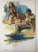 1999 Mod Martha Nessler Hayden Nude Couple Gouache Art Chicago Framed Original