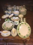 Antique China Complete Dinnerware Set With 150+ Pieces Franciscan Ivy Patternandnbsp