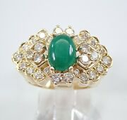 Vintage Estate 18k Yellow Gold Jade And Diamond Cluster Ring Size 6.25 Rare