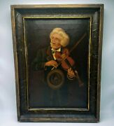 19th Century Oil Painting After John George Brown - Old Violinist - Signed