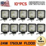 10x 24w Led Work Light Flood Reverse Pods For Tractor Truck Lamp Cars Vs 27w/48w