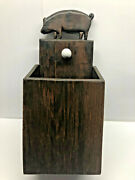 Antique Folk Art Pig Wooden Wall Hanging Open Candle Box Or Pantry Box W Knob