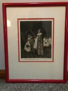Antique Framed Print Priest Singing In Church By Henry Brispot / George Barrie