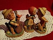 Vintage Porcelain Trio Figurines With Makers Marks And Numbers