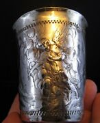 Early 1700and039s Russian Solid Silver Cup Arnholt Lange Danzig Angels-men-doves