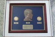 Jfk Commemorative Coin Set 24k Gold Rubies, Sapphires And Emeralds Donjo Sculpture