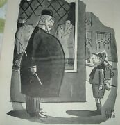 1944 Peter Arno Cartoon Print Fat Man Asking Boy Scout To Tie Shoes Humor