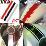 3x Black Red Silver Reflective Motorcycle Gas Tank Racing Stripe Decal Stickers