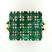 Vintage 14k Gold And Silver Top Round Green Emerald Rectangular Large Platter Ring