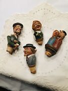 Set Of Antique Carved Wooden Bottle Toppers/puppets