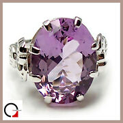 Ladyand039s Ring White Gold 18 Carats 750/1000 With Amethyst Solitaire Vintage