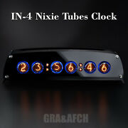 In-4 Nixie Tubes Clock In Stylish Black Acrylic Case With Sockets 12/24h Temp Fc