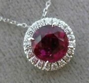 Estate 1.74ct Diamond And Aaa Ruby 18kt White Gold Round Halo Floating Pendant E/f