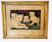 19th C Antique Currier And Ives Three White Kitties - Their First Mouse Lithograph
