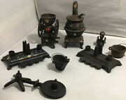 Lot Cast Iron Vintage Stove And Many Miniature Accessories 8 Total Pieces