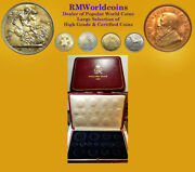 Gb 1937 15 Pc Silver Proof Set Case No Coins Leather Case Excellent Cond.