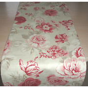 8ft Dining Table Runner 96 Pink Roses Taupe Beige Rose Flowers Floral 240cm