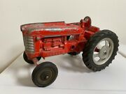 Vintage Hubley Toys 10andrdquo Red Farm Cast Metal Tractor W/ Rubber Wheels