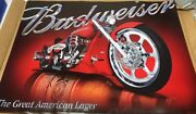 New Posters Budweiser Beer Motorcycle Pub Sign Chopper Posters. Lot Of 21