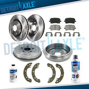 Front Rotors Rear Drums + Brake Pads And Shoes For 2003 2004 - 2008 Toyota Corolla