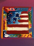 Peter Max, American Flag Mixed Media Signed Painting