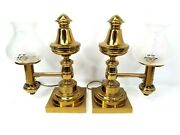 Pair Of Antique Messenger And Sons Argand Brass Lamps With Foliate Glass Shades