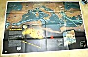 Vintage Giant Illustrated Map Wwii Italy Greece Spain Ships On Fire Planes 944