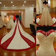 Vintage Redandwhite Wedding Dresses Vintage Lace Embroidery Beaded Lace-up Gowns