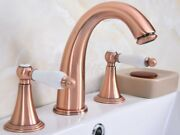 Red Copper Brass Widespread 3 Hole Install Bathroom Vessel Sink Faucet Zrg069