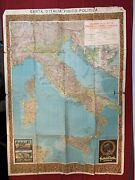 Vintage Italy Map Of Costa Rossa Fratelli Carli 1940and039s 35x28 103a