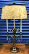 Very Rare Vintage Stiffel Large Brass And Crystal Bouillotte Table Lamp