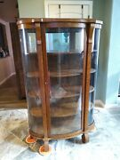 Antique Curved Glass Dining Room China Cabinet Display Case Bookcase With Key