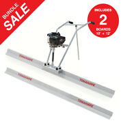 Power Screed Vibratory Bull Float 12ft And 10ft Blade Set Concrete Finishing Tool