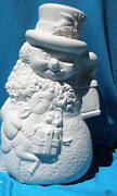 Snowman With Baby Deer And Lantern  Ceramic Bisque U-paint Christmas Winter